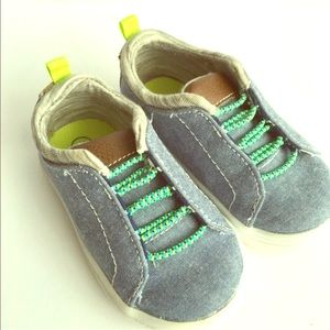 Toddler Boys Sz 5 slip on sneakers Blue and green